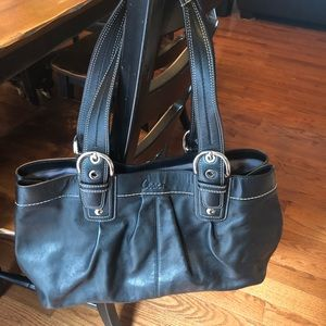 Coach soho pleated black shoulder bag